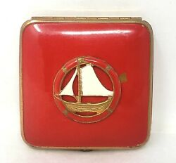 Vintage Compact Red Brass with Enamel Sailboat Mirror Powder Rouge Puffs $19.00