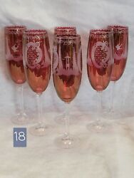 Vintage Czech Bohemian Murano Cranberry Glass Etched Champagne Flutes Set of 6 $69.99