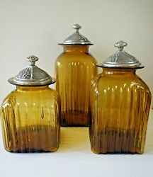 Kitchen Canisters Set of 3 Amber Ribbed Glass Pewter Lids Hand Blown in Mexico $99.99