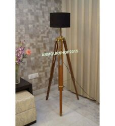 Collectible Floor Shade Lamp Brown Wooden Tripod Stand Home Decor $86.00