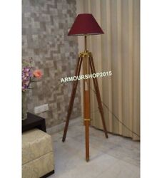Antique Floor Shade Lamp Brown Wooden Tripod Stand Home Decor $85.00