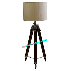 Nautical Floor Shade Lamp Brown Wooden Tripod Stand Home Decor Without Shade $80.00