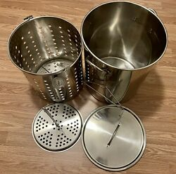 Outdoor Large Stainless Steel Crawfish Seafood Boiling Pot Stock Pot w Basket $99.95