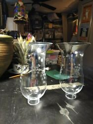 """Pair Vintage Hurricane Lamp Shades Chimney Clear Etched Glass Grape 8 3 4"""". $15.00"""