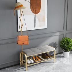 Modern Entryway Upholstery Shoe Bench Storage with Coat Rack Cloth Hanger Gold $236.54
