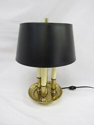 Vintage Mini Small Bouillotte Style Lamp Black Shade Brass 13quot; Tall Mid Century $60.00