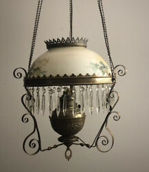 Antique Victorian Hanging Oil Lamp Converted to Electric brass crystals $185.00