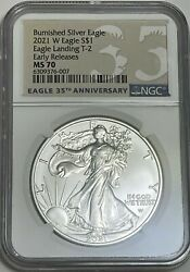 2021 W $1 TYPE 2 NGC MS70 ER BURNISHED UNCIRCULATED SILVER EAGLE LANDING $149.95