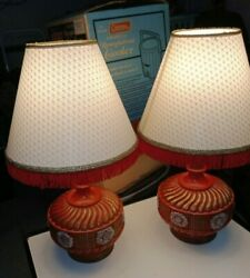Pair MID CENTURY MODERN table lamps BY PIERI W ORIGINAL SHADES EX ONE OWNER $300.00