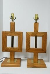 Pair Of 2 Wood with brass Mid Century Modern Lamps large $140.00