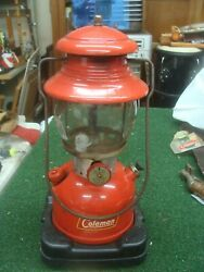 Vintage Coleman 200A Red Single Mantle Lantern August 1958 w case amp; extras $199.99