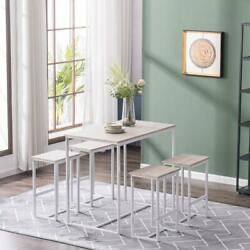 New 5 Piece Wood Dining Table Set 4 Chair Metal Kitchen Dining Room Oak White $175.69