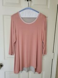 LOGO by Lori Goldstein Color Block Top with Back Band Large Gently Pre Owned $22.00