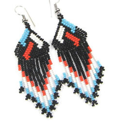 NATIVE STYLE BLACK BLUE HANDCRAFTED BEADED CHANDELIER FASHION EARRINGS $10.54
