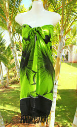 Sarong Hawaii pareo Beach Cover up Wrap Dress LIME GREEN GIANT HIBISCUS $14.88