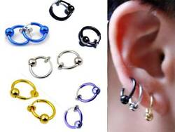 1 Pair Spring Clip On HoopNose Lip Ear RingEarrings ½quot; or 13MM Men Women $2.99