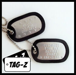 Custom Embossed Military Dog Tags Stainless Steel 42 Silencer Colors Tag Z $6.00