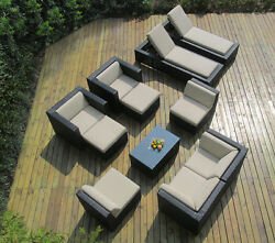Beautiful Outdoor Patio Sofa Sectional Wicker Sofa and Lounge 11 PC Set