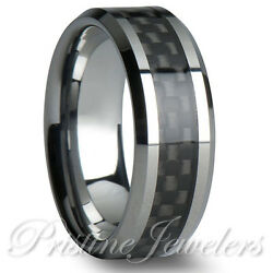 Tungsten Gray Carbon Fiber Ring Silver Mens Rings Engagement Mens Wedding Bands $11.95