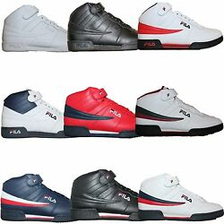 Mens Fila F13 F-13 Classic Mid High Top Basketball Shoes Sneakers White Black $39.95