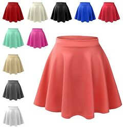 Womens Basic High Waisted Stretch Flared Pleated Plain Mini Skater Skirt NEWSK06 $14.98