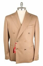 NWT Piacenza WoolCashmere Men Double Breasted Sport Coat Light Brown 48US58EU