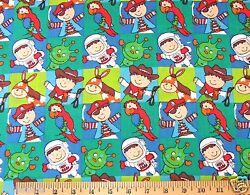 NEW 2 YARDS NOVELTY BOYS AND ANIMALS BLUE AND GREEN COTTON FABRIC 44 WIDE $8.99