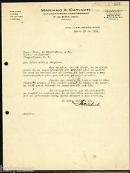 ANTIQUE COMMERCIAL LETTER  MARIANO A. CATINCHI  SAN JUAN PUERTO RICO 1924