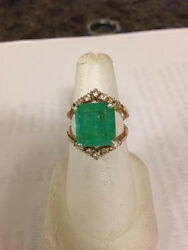 Huge Guaranteed 8.6 ct Columbian Emerald diamond 14k gold Engagement ring 6.6