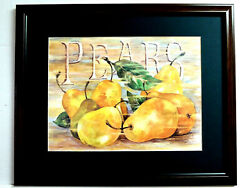 PEARS FRUIT PICTURE FRAMED KITCHEN DINING ROOM PICTURE MATTED 16X20 $65.95