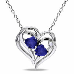 Sterling Silver Diamond & Created Blue Sapphire Heart Pendant Necklace