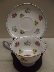 SHELLEY ROSES PANSIES FORGET ME NOTS BLUE SCROLLS SHE13518 CUP SAUCER SET
