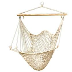 Hammock Cotton Swing Camping Hanging Rope Chair Wooden Beige White Outdoor Patio $24.98
