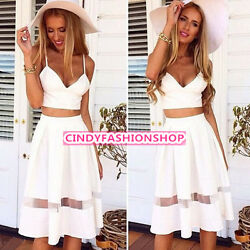 Set Women Two Piece Crop Top Midi Skirt Set Summer Holiday Beach Skirt Trendy $22.88