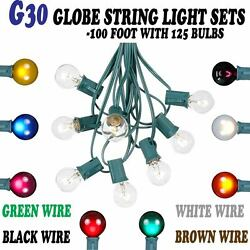 100 Foot G30 Outdoor Lighting Globe Patio String Lights -  Set of 125 G30 Bulbs