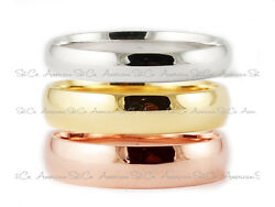 Solid 18K White Yellow Rose Gold Band Plain Comfort Fit Ring Mens Women Wedding