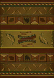Rustic Log Cabin Burgundy Red Beige Brown Decor Bear Fish 8X11 Area Rug Carpet