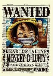 One Piece Luffy Anime Dictionary Art Print Poster Wanted Picture Manga Book $5.99
