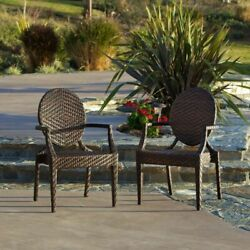 Set of 2 Outdoor Patio Furniture Elegant Design All-weather PE Wicker Arm Chairs