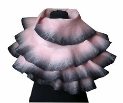 Handmade Felted Shawl Scarf - made of Wool and Silk Pink and dark grey Scarf