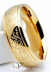 Mens Stainless Steel Ring Gold Plated Engraved Florentine Design Band 7mm