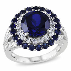 Amour Silver Created Blue and White Sapphire and Diamond Accent Cocktail Ring