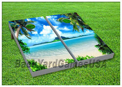 VINYL WRAPS Cornhole Boards DECALS Tropical Paradise Beach  Game Stickers 90