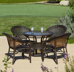 Outdoor Patio Furniture Luxury 5pc PE Wicker Bistro  Dining Set