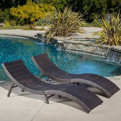 Set of 2 Outdoor Patio Folding Multibrown PE Wicker Chaise Lounge Chairs