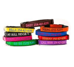 Embroidered Personalized Dog Collar Extra Durable Extra Tough GO GO CUTE PUPPY $12.99