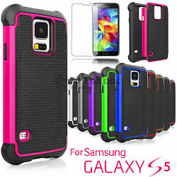 For Samsung Galaxy S5 Shockproof Hybrid Rugged Hard Case+Tempered Glass Film