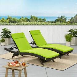 (Set of 2) Green Cushion Pads For Outdoor Patio Chaise Lounge Chairs
