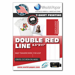 INKJET IRON ON HEAT TRANSFER PAPER LIGHT 100 Sheets 8.5 quot; x 11quot; DOUBLE RED LINE $39.99