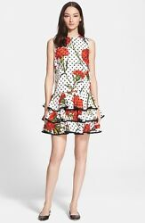 Dolce & Gabbana  Carnation & Polka Dot Print Cotton Dress ( Size 40- US 4)